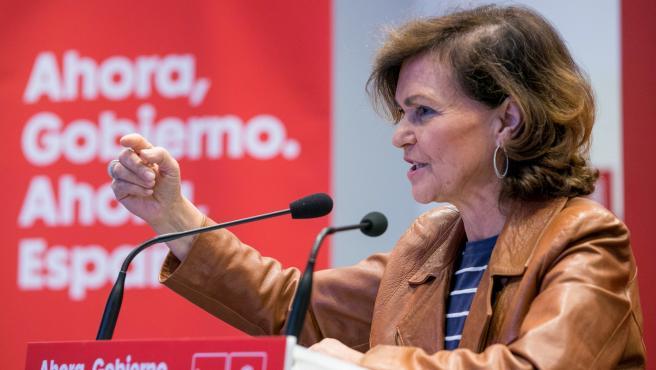 La vicepresidenta del Gobierno en funciones, Carmen Calvo, en un acto de precampaña electoral celebrado en Zaragoza.