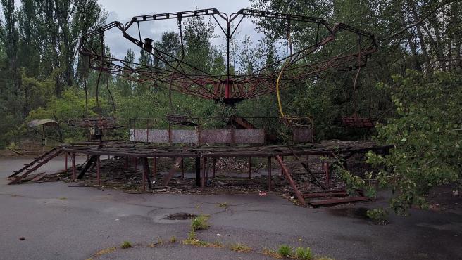 Parque de atracciones de Pripiat, junto a la central de Chernóbil, en Ucrania.