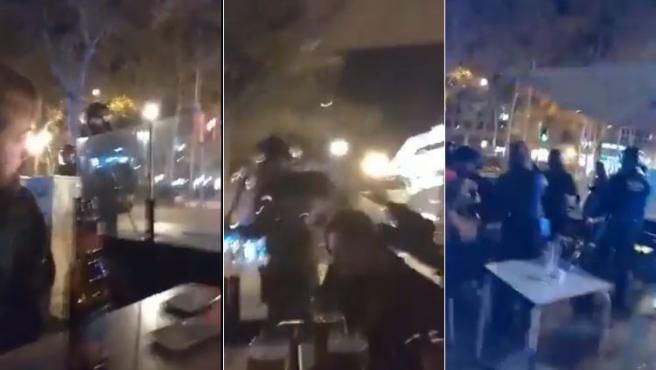 Secuencia de imágenes de una carga de los Mossos que tuvo lugar este sábado en una terraza del centro de Barcelona.