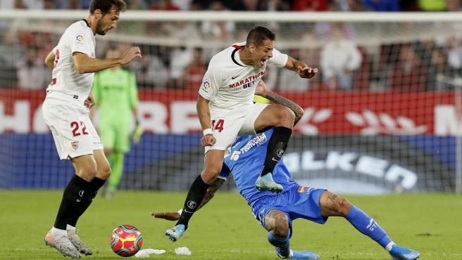 Chicharito Hernández, durante el Sevilla-Getafe