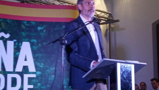 El candidato al Congreso de los Diputados por Vox León, Pablo J. Calvo, en el acto de precampaña