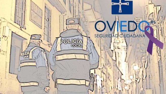 Imagen de dos policías locales de Oviedo con el crespón morado en contra de la violencia de género.