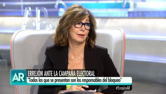 Ana Rosa Quintana, durante la emisión de su programa de este miércoles.