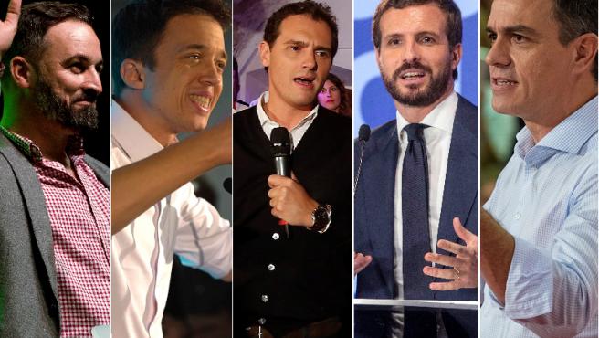 De izq a dcha. Abascal, Errejón, Rivera, Casado y Sánchez
