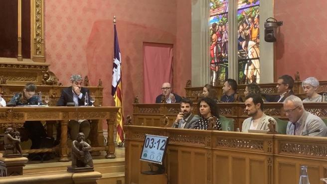 El portavoz del PSIB en el Consell, Andreu Alcover, interviniendo en el pleno.