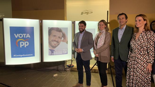 El presidente del PP balear, Biel Company, y los candidatos al Congreso y al Senado por Mallorca