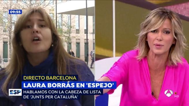 Susanna Griso entrevista a Laura Borràs para 'Espejo Público'.