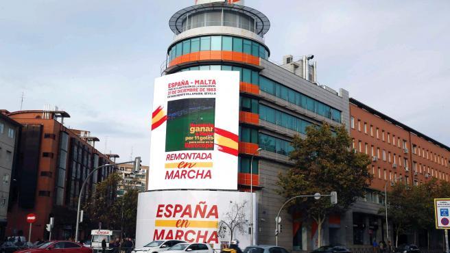 Imagen del cartel que Ciudadanos ha instalado en su sede de Madrid.