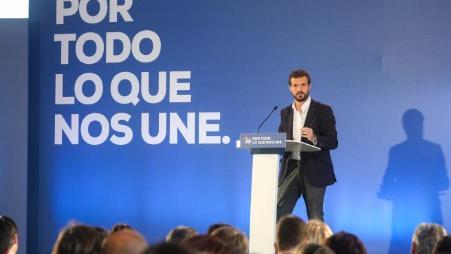 El presidente del Partido Popular, Pablo Casado, interviene en un acto en Lalín (Galicia), a sábado 2 de noviembre de 2019
