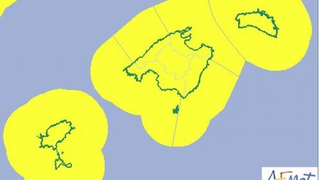 Imagen de la alerta amarilla por fuertes vientos y fenómenos costeros adversos este domingo en Baleares, según la Agencia Estatal de Meteorología