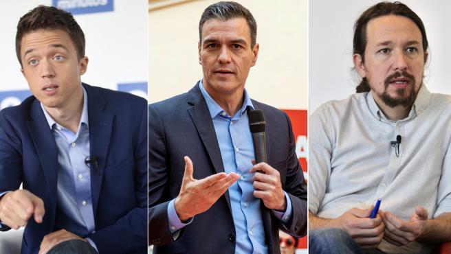 Íñigo Errejón, Pedro Sánchez y Pablo Iglesias en imágenes de archivo.