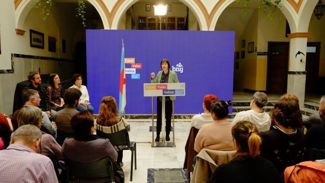 La portavoz nacional del BNG, Ana Pontón, en un mitin en Lugo