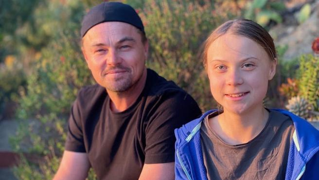 Leonardo DiCaprio y Greta Thunberg durante su encuentro.