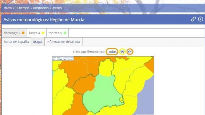 Mapa de alertas meteorológicas de la Aemet para Murcia
