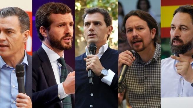 Imagen de los cinco candidatos nacionales al 10N: Pedro Sánchez (PSOE), Pablo Casado (PP), Albert Rivera (Cs), Pablo Iglesias (Unidas Podemos) y Santiago Abascal (Vox)