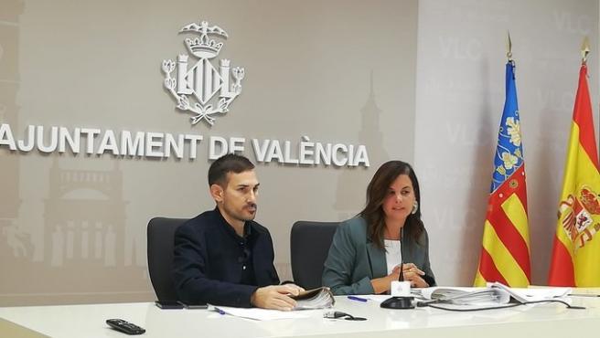 Los vicealcaldes de València Sergi Campillo y Sandra Gómez