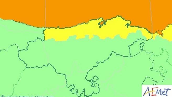 Mapa de avisos activos en Cantabria este martes