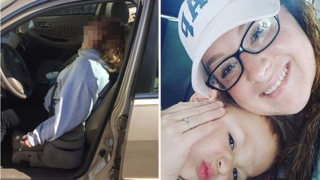 A la izquierda la imagen de la sobredosis que se hizo viral de Hurt, a la derecha tres años después con su hijo.