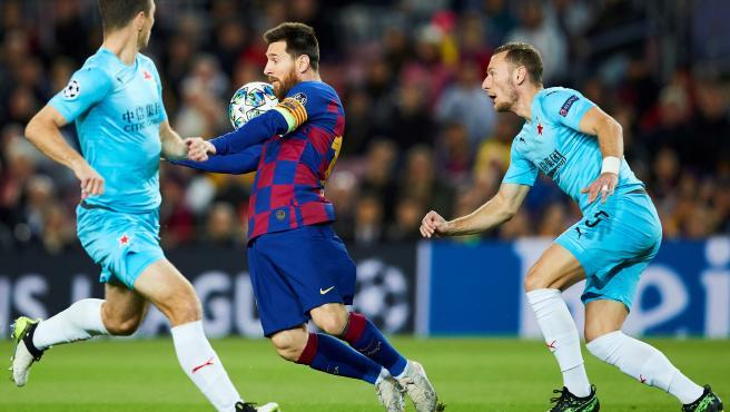 Leo Messi, durante el partido del Barcelona contra el Slavia