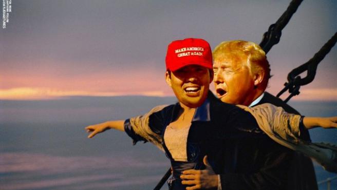 Donald Trump, a lo 'Titanic' con Kurt Suzuki, en uno de los memes creados en Twitter