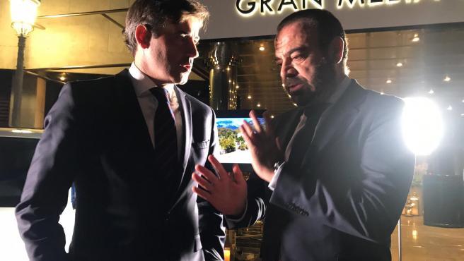 El CEO de Meliá Hotels International, Gabriel Escarrer, en la firma de un convenio con audi para fomentar la movilidad sostenible