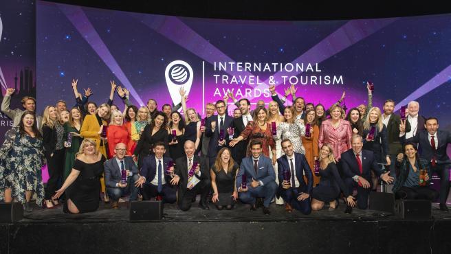 Foto de familia de los premiados en la WTM