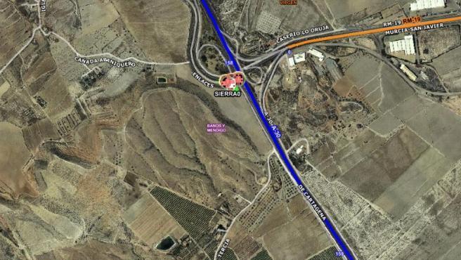 Imagen por satélite del lugar exacto del accidente