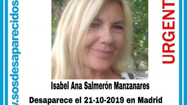 Cartel de SOS Desaparecidos con los datos de Isabel Ana Salmerón Manzanares.