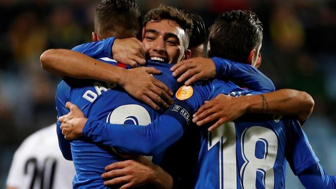 Munir celebra uno de sus goles al Dudelange.