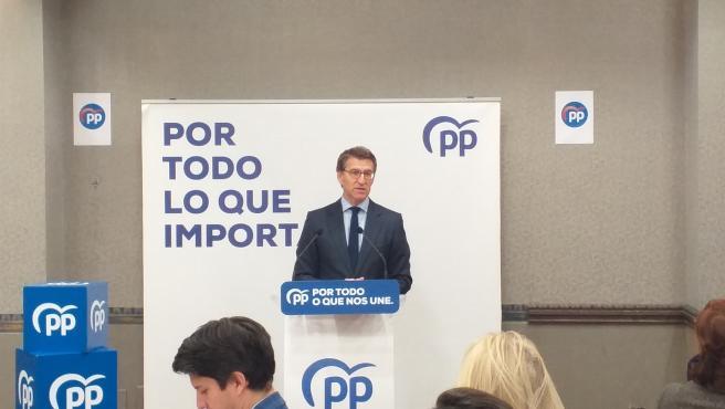 Alberto Níuñez Feijóo, en un acto electoral con empresarios en Vigo.