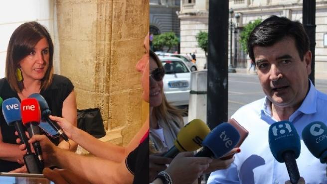 Catalá (PP) y Giner (Cs) atienden a los medios en imagen de archivo