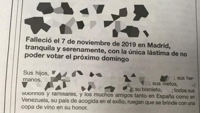 Imagen de la esquela publicada en 'El País'.