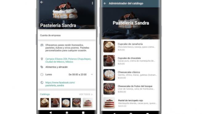 Captura de pantalla de la nueva función de catálogo.