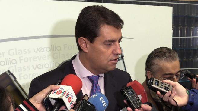 Ibáñez atiende a los medios de comunicación en Burgos.