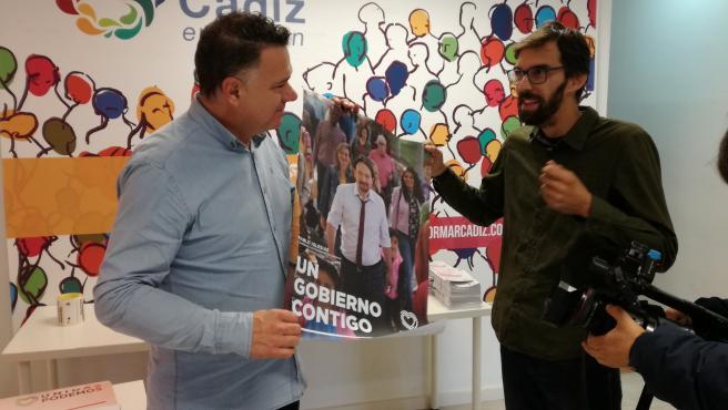 Los número dos y tres de Unidas Podemos al Congreso de los Diputados por la provincia de Cádiz, Juan Antonio Delgado y José Luis Bueno.