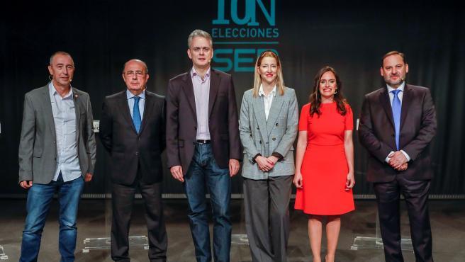 Los seis candidatos en el debate en la Cadena Ser