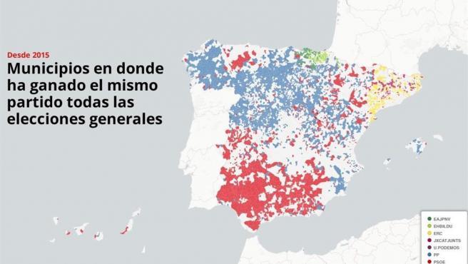 Mapa de los municipios donde ha ganado el mismo partido en todas las elecciones generales desde 2015.