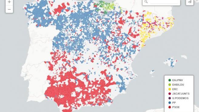 Mapa de municipios en donde ha ganado el mismo partido todas las elecciones generales desde 2015.