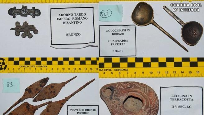 Piezas arqueológicas recuperadas por el EPRONA de una subasta en Internet.