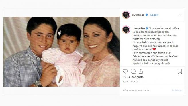 """La surrealista felicitación de cumpleaños de Kiko Rivera a Isa Pantoja: """"No nos hablamos..."""""""