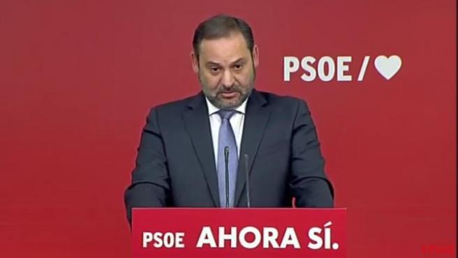 José Luis Ábalos comparece en rueda de prensa el 11 de noviembre de 2019.