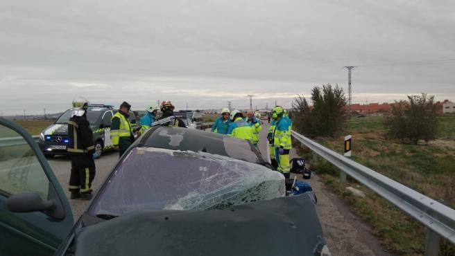 Dos hombres mueren en un accidente múltiple en Torrejón de Velasco (Madrid)