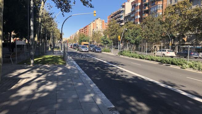 Nuevas zonas de estancia y parterres en la remodelación de Meridiana a la altura de Mallorca