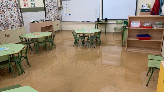 Inundación en el colegio de Jove, en Gijón (Foto de archivo)