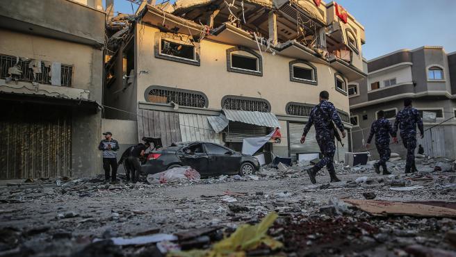 Así ha quedado la casa de Al Ata, líder de Yihad Islámica, tras el ataque de Israel que le ha causado la muerte a él y a su mujer, en Gaza.
