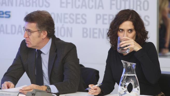 El presidente de la Xunta de Galicia, Alberto Núñez Feijóo y la presidenta de la Comunidad de Madrid, Isabel Díaz Ayuso, momentos antes de empezar la reunión del Comité Ejecutivo Nacional del Partido Popular, tras las elecciones generales del 10N, en Madr