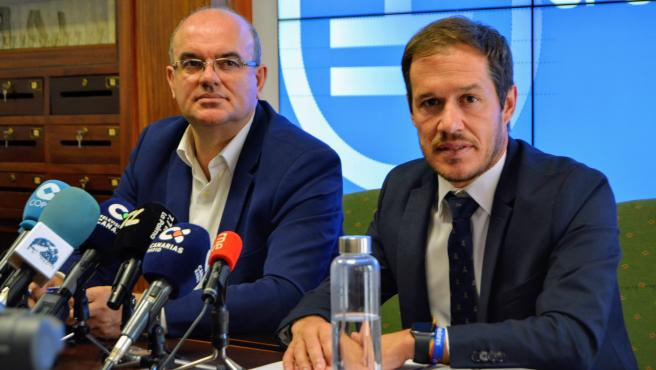 El presidente y el vicepresidente del Cabildo de La Palma, Mariano H. Zapata y Anselmo Pestana
