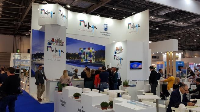Estand de Málaga capital en la World Travel Market de Londres 2019 donde han mantenido más de 70 contactos profesionales