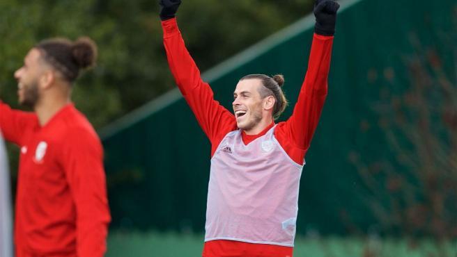 Gareth Bale, durante un entrenamiento con Gales.