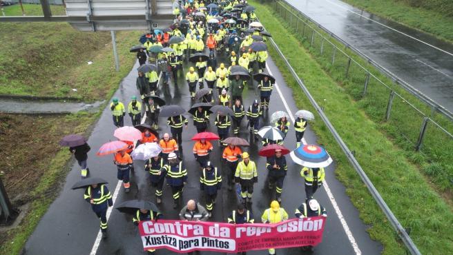 Movilización de trabajadores de Navantia Fene y Ferrol.